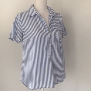 J. Crew Blue White Striped Short Sleeve Popover 8
